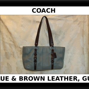 Coach Large Blue Pebbled Leather Chelsea Zip Tote